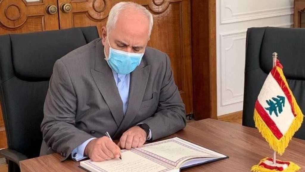 Explosion à Beyrouth: Zarif signe le registre des condoléances à l'ambassade du Liban à Téhéran